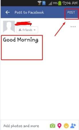 كيفية عمل منشور أو Post من خلال تطبيق فيس بوك