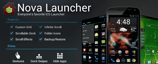 برنامج تغيير شكل الهاتف Nova Launcher