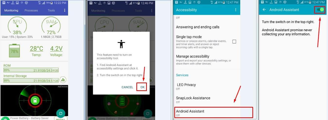 تطبيق Assistant for Android - 1MB لتنظيف الهاتف