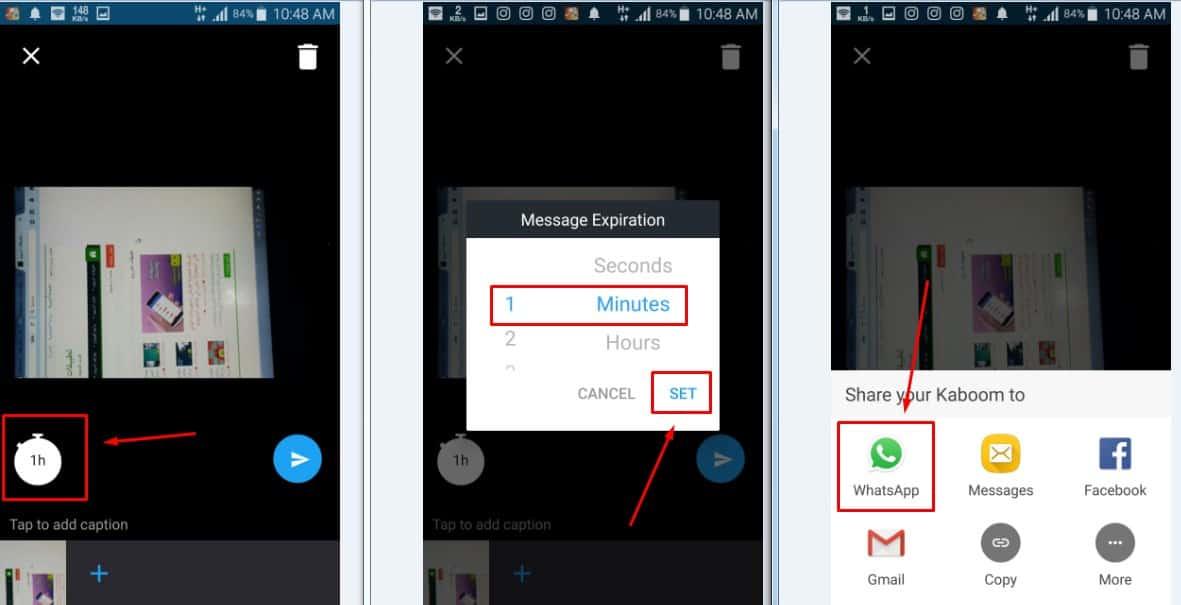 Kaboom - Self-destructing Post تطبيق للحفاظ صورك بتدميرها من على هاتف الشخص المرسال اليه تلقائياً