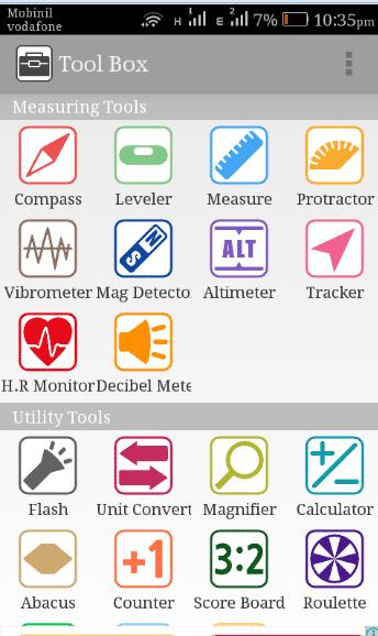 Tool Box (Free) تطبيق يحول هاتفك إلى بوصلة وجهاز استشعارات مجاناً