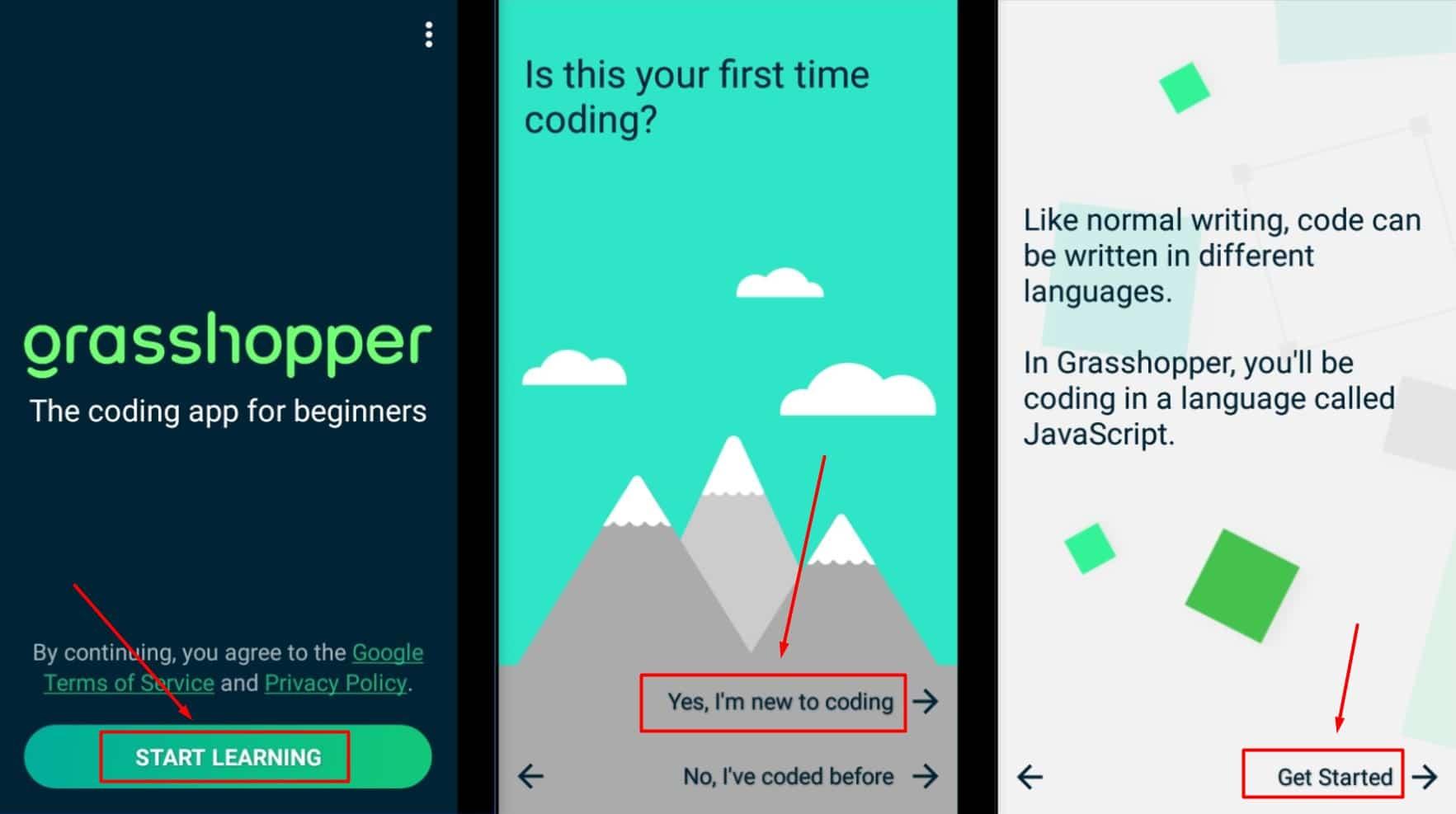 تطبيق grasshopper لتعلم لغة البرمجة