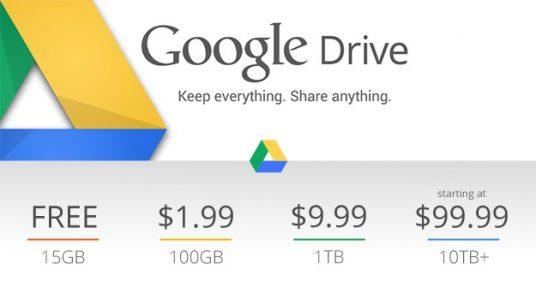 السعة التخزينية لخدمة التخزين السحابي جوجل درايف